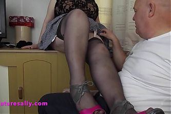 Sallys stockings made him hard