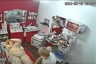 Hidden cameras. Beauty salon, hair removal pussy and ass