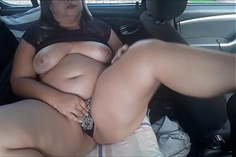 Masturbation in the car in the market parking lot