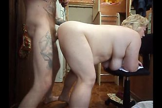 Blowjob from BBW and sex in the chair