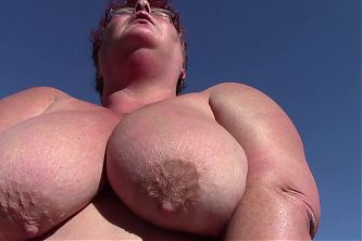 Mature BBW Plays with Her Huge Boobs Outdoors