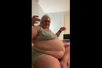 European BBW belly jiggle on bed