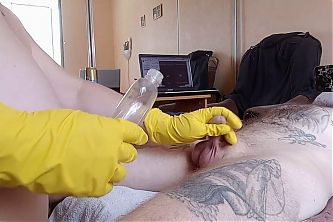 fat girl jerks off my cock in gloves and with oil