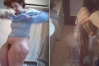 Double shot, hidden camera in bathroom