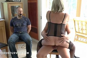 Busty Blonde makes her husband watch her being fucked