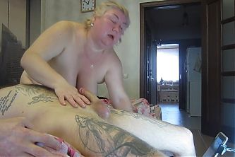 Blowjob from mother-in-law with a deepthroat