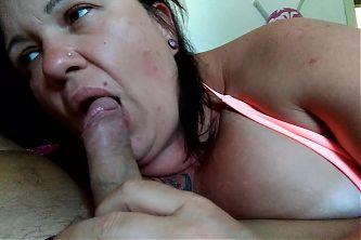 Sluty BBW wife suck my dick