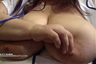 Nurse with huge lactating boobs