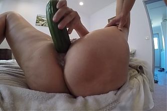 Fucking my sloppy, cum filled pussy with massive cucumber.